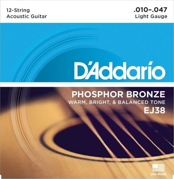 DAddario EJ38 12 String Phosphor Bronze Acoustic Guitar